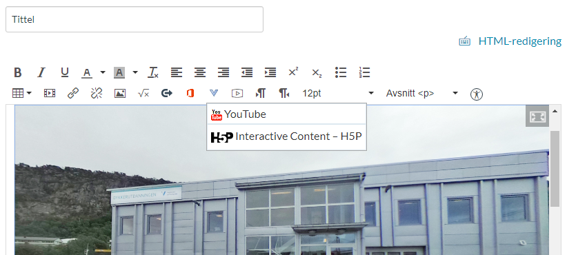 Scrrenshot of where to find H5P in the Canvas editor.